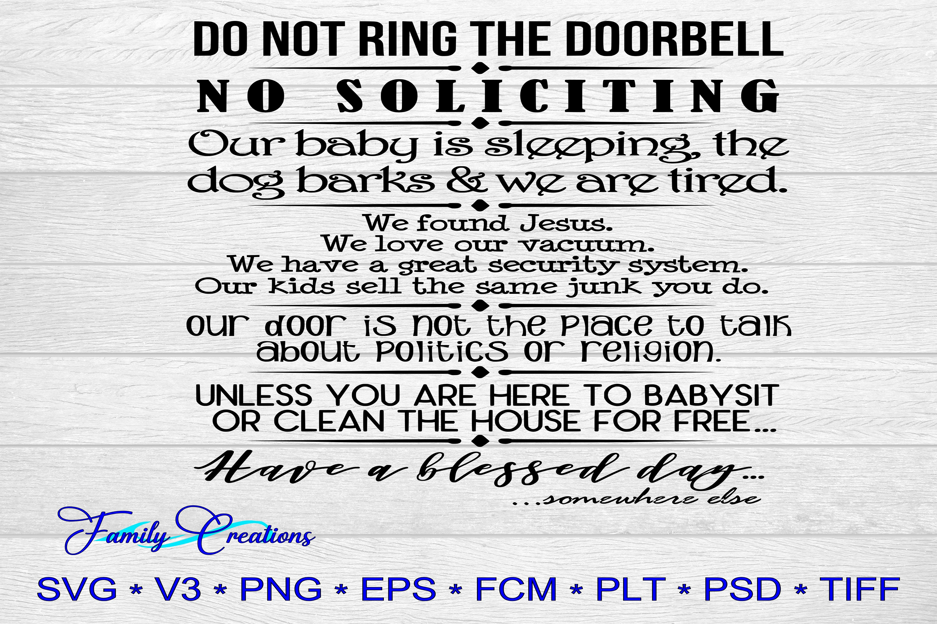 Download Free Do Not Ring The Doorbell No Soliciting Graphic By Family for Cricut Explore, Silhouette and other cutting machines.