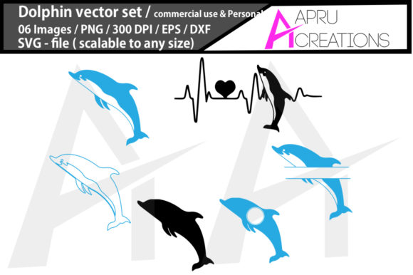 Print on Demand: Dolphin Vector Set , Dolphin Heartbeat Graphic Crafts By aparnastjp