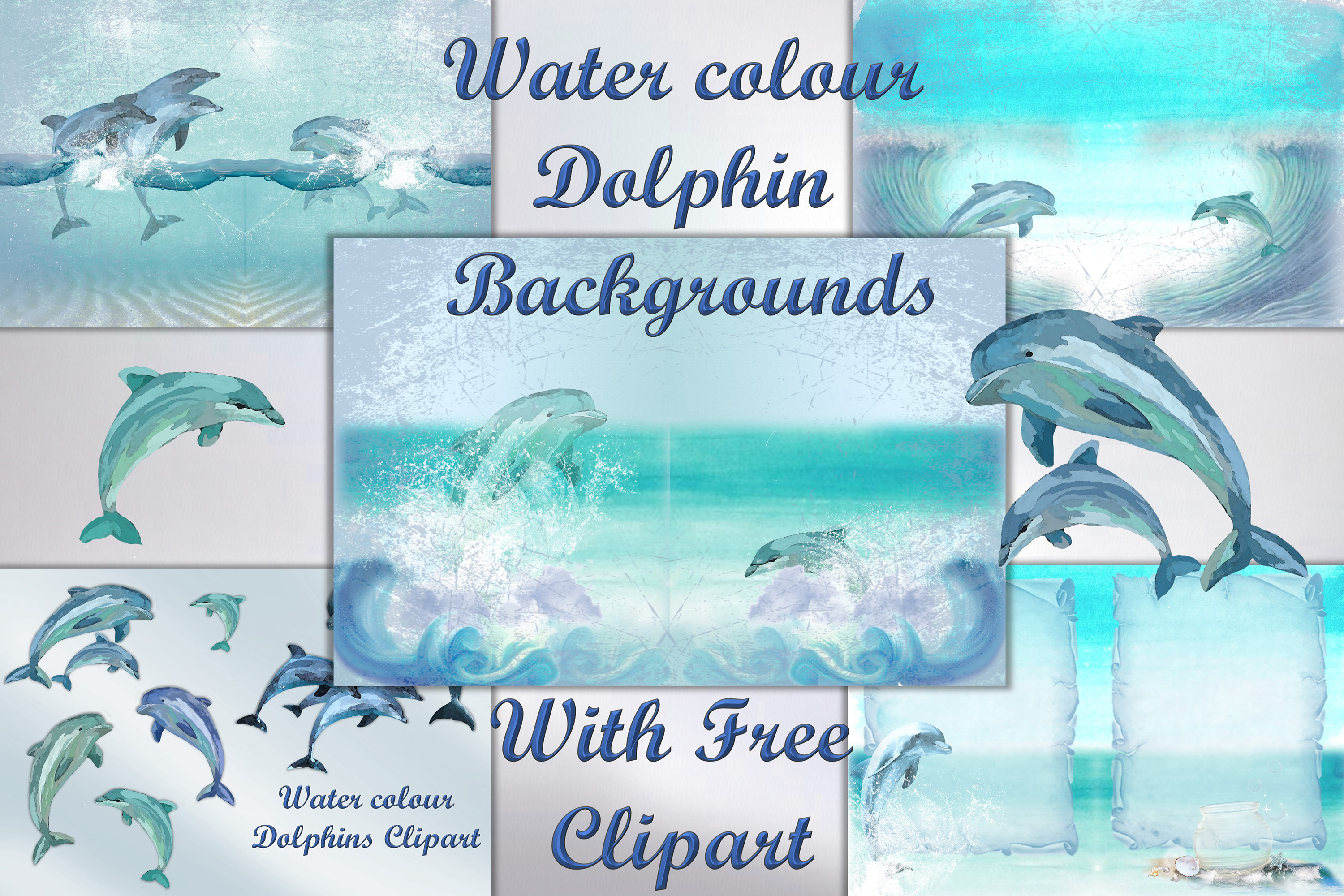 Download Free Dolphins Backgrounds Clipart Bundle Graphic By The Paper for Cricut Explore, Silhouette and other cutting machines.