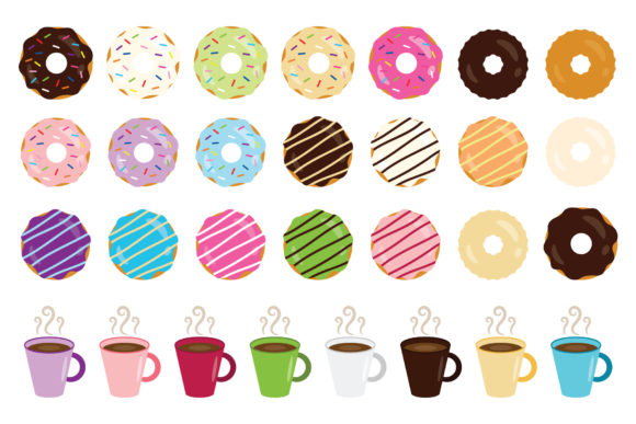 Print on Demand: Donuts & Coffee Clip Art Set Graphic Objects By Running With Foxes - Image 2