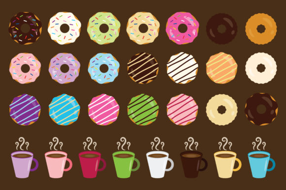 Print on Demand: Donuts & Coffee Clip Art Set Graphic Objects By Running With Foxes - Image 3