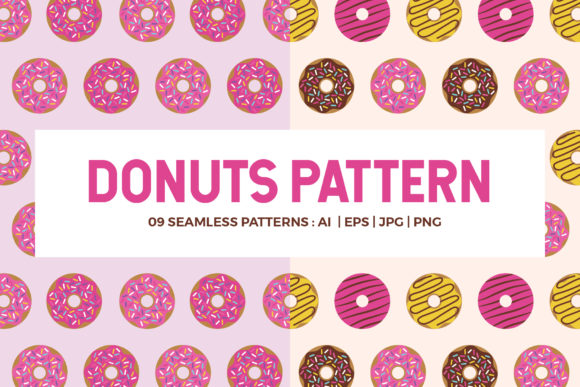Donuts Seamless Patterns Gráfico Moldes Por abstractocreate
