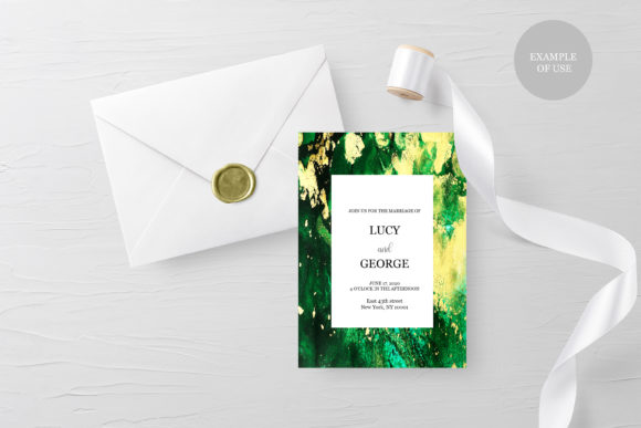 Dreamy Ink Textures, Green Gold Wedding