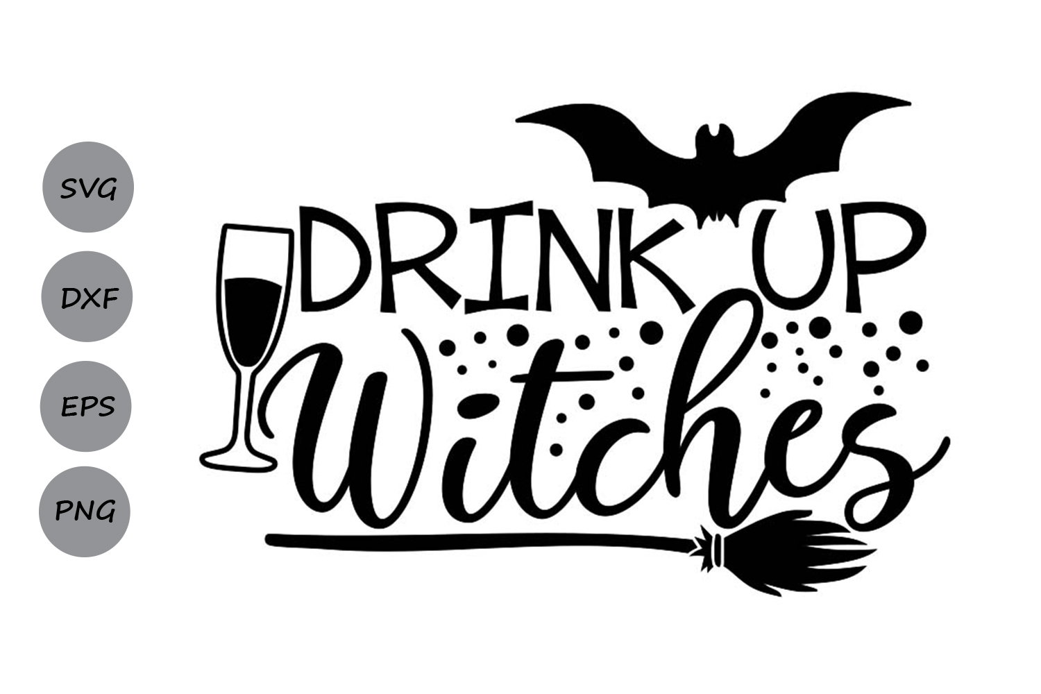 Download Free Drink Up Witches Graphic By Cosmosfineart Creative Fabrica for Cricut Explore, Silhouette and other cutting machines.