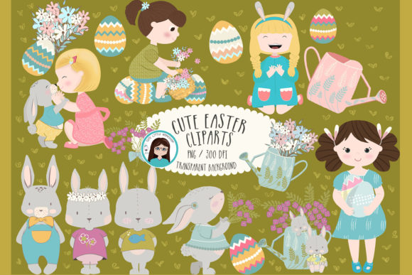 Download Free Easter Clipart Bundle Graphic By Cutelittleclipart Creative for Cricut Explore, Silhouette and other cutting machines.