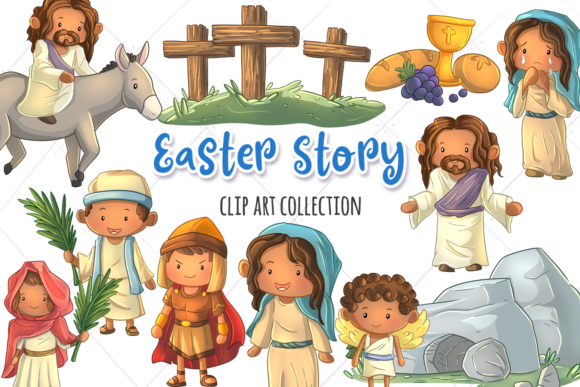Print on Demand: Easter Story Clip Art Collection Graphic Illustrations By Keepinitkawaiidesign
