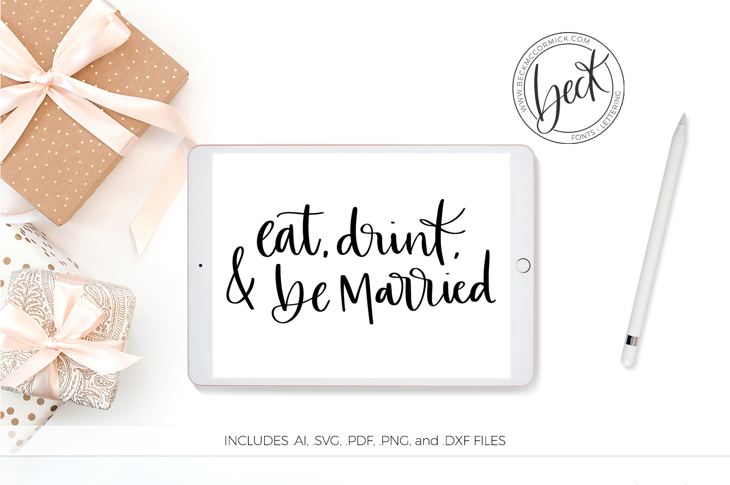 Download Free Eat Drink Be Married Graphic By Beckmccormick Creative Fabrica for Cricut Explore, Silhouette and other cutting machines.