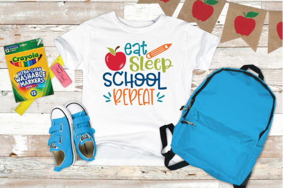 Eat Sleep School Repeat Svg Cut File Graphic By Oldmarketdesigns