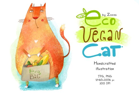 Download Free Eco Vegan Cat Graphic By Zooza Art Creative Fabrica for Cricut Explore, Silhouette and other cutting machines.