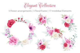 Print on Demand: Elegant Watercolor Flowers Collection Graphic Illustrations By KeepMakingArt