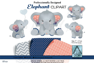 Elephant Clip Art in Navy Blue and Peach Graphic By adlydigital