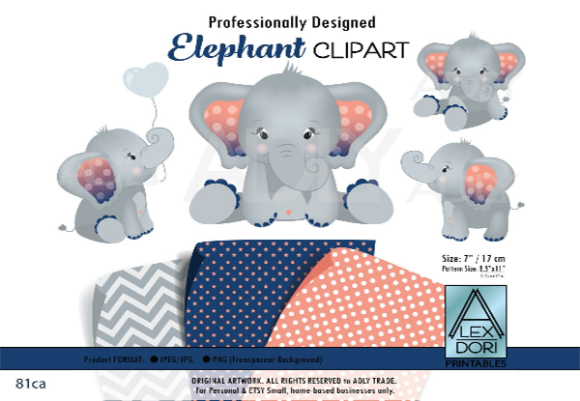 Print on Demand: Elephant Clip Art in Navy Blue and Peach Graphic Graphic Templates By adlydigital - Image 1