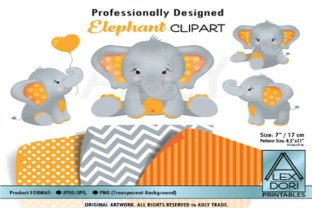 Elephant Clip Art in Orange and Gray Graphic By adlydigital