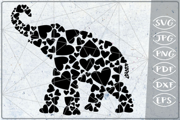 Elephant Hearts Print in Heart Graphic Crafts By Cute Graphic