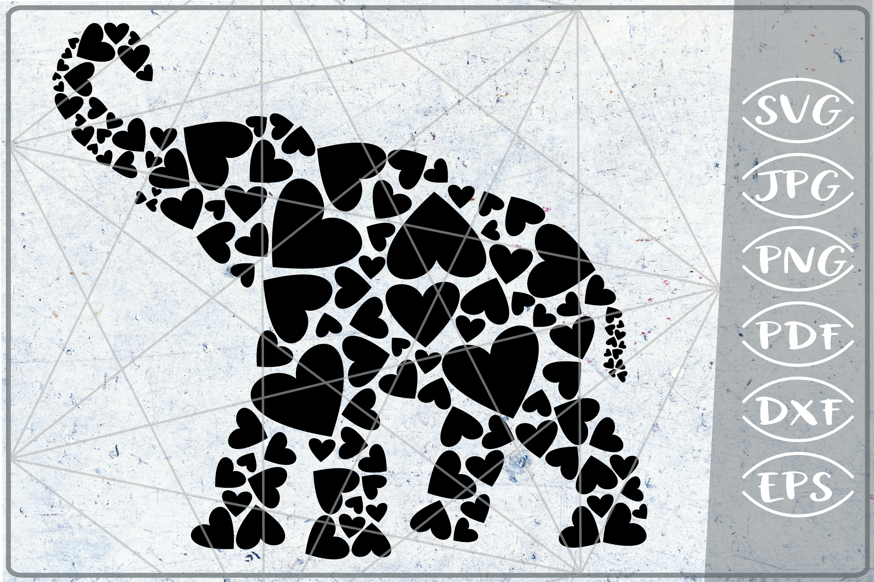 Download Free Elephant Hearts Print In Heart Graphic By Cute Graphic for Cricut Explore, Silhouette and other cutting machines.