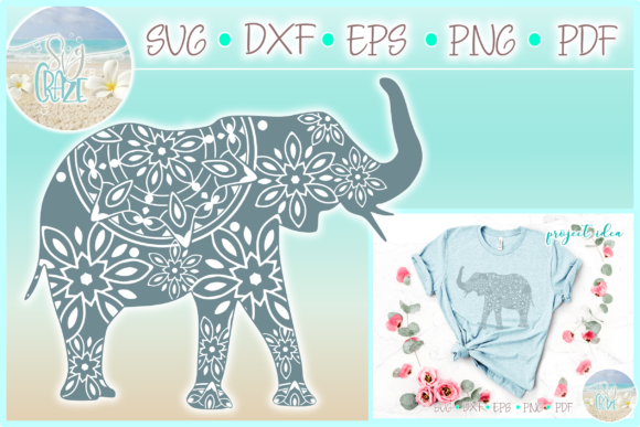 Download Free Elephant Mandala Zentangle Graphic By Harbor Grace Designs for Cricut Explore, Silhouette and other cutting machines.