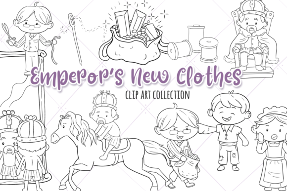 Print on Demand: Emperor's New Clothes Digital Stamps Graphic Illustrations By Keepinitkawaiidesign