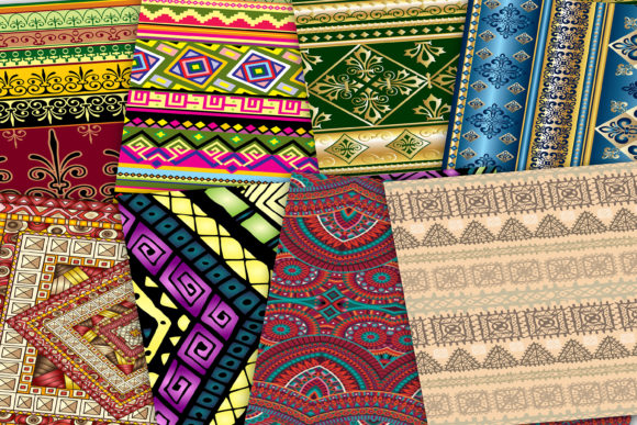 Print on Demand: Ethnic Digital Paper Graphic Backgrounds By retrowalldecor - Image 3