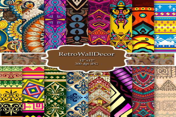Print on Demand: Ethnic Digital Paper Graphic Backgrounds By retrowalldecor - Image 1