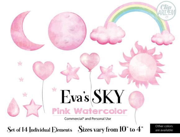 Print on Demand: Evas Sky Pink Watercolor Clipart Bundle Graphic Graphic Templates By adlydigital - Image 2
