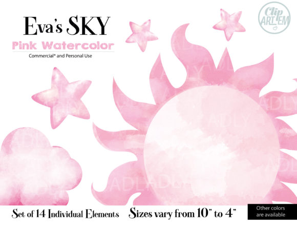 Print on Demand: Evas Sky Pink Watercolor Clipart Bundle Graphic Graphic Templates By adlydigital
