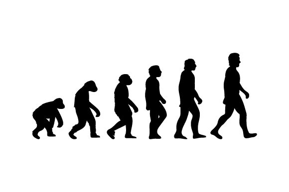 Download Free Evolution Characters Ape Human Svg Cut File By Creative Fabrica for Cricut Explore, Silhouette and other cutting machines.