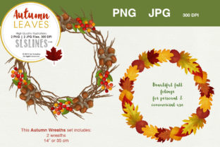 Fall & Autumn Wreath Set Graphic By SLS Lines