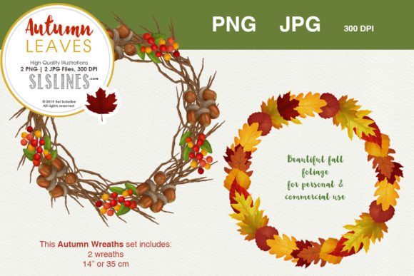 Print on Demand: Fall & Autumn Wreath Set Graphic Illustrations By SLS Lines