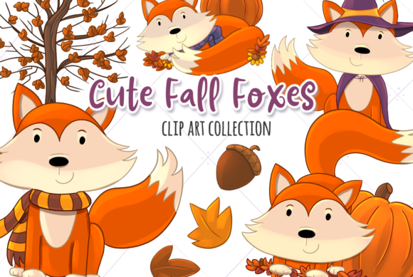 Print on Demand: Fall Foxes Clip Art Collection Graphic Illustrations By Keepinitkawaiidesign