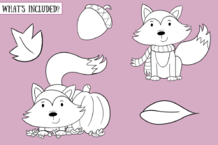 Print on Demand: Fall Foxes Digital Stamps Graphic Illustrations By Keepinitkawaiidesign 2