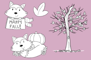 Print on Demand: Fall Foxes Digital Stamps Graphic Illustrations By Keepinitkawaiidesign 3