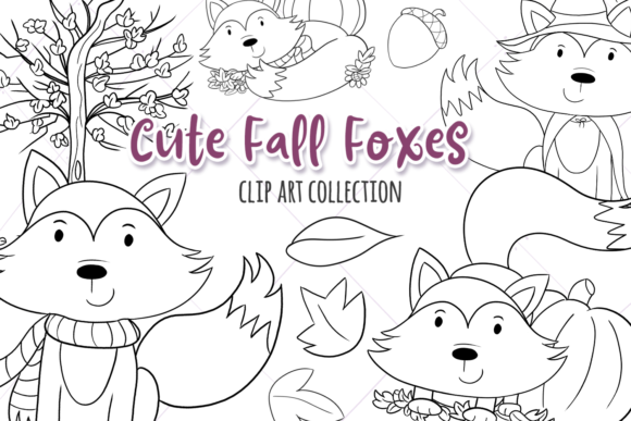 Print on Demand: Fall Foxes Digital Stamps Graphic Illustrations By Keepinitkawaiidesign