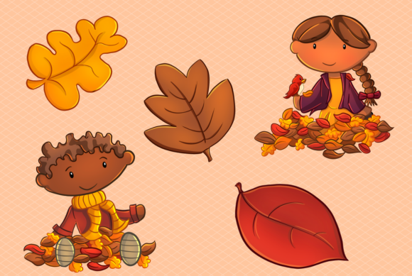 Print on Demand: Fall Leaves Clip Art Collection Graphic Illustrations By Keepinitkawaiidesign - Image 3