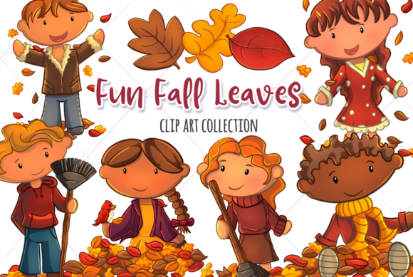 Print on Demand: Fall Leaves Clip Art Collection Graphic Illustrations By Keepinitkawaiidesign - Image 1