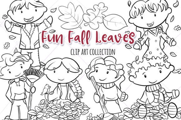 Print on Demand: Fall Leaves Digital Stamps Graphic Illustrations By Keepinitkawaiidesign