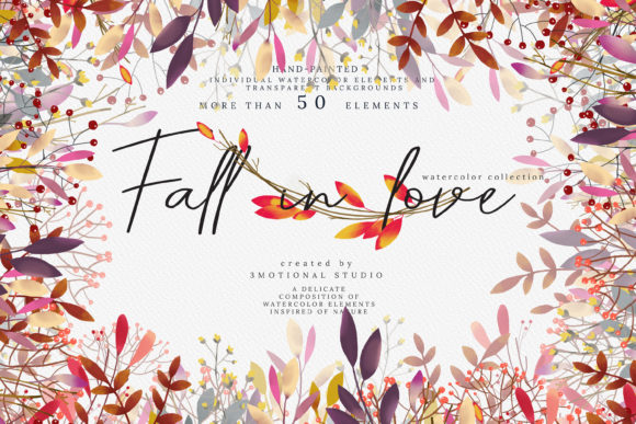 Download Free Fall In Love Watercolor Collection Graphic By 3motional for Cricut Explore, Silhouette and other cutting machines.