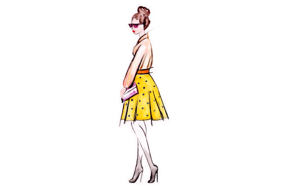 Fashion Sketch in Watercolor Craft Design By Creative Fabrica Crafts