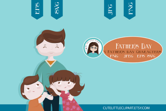 Father And Children Svg Graphic By Cutelittleclipart Creative