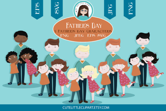 Download Free Father And Children Svg Graphic By Cutelittleclipart Creative for Cricut Explore, Silhouette and other cutting machines.