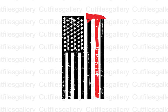 Firefighter Flag Distressed Graphic Crafts By cutfilesgallery