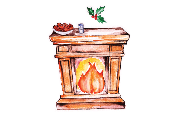 Download Free Fireplace With Cookies And Milk For Santa Archivos De Corte Svg for Cricut Explore, Silhouette and other cutting machines.