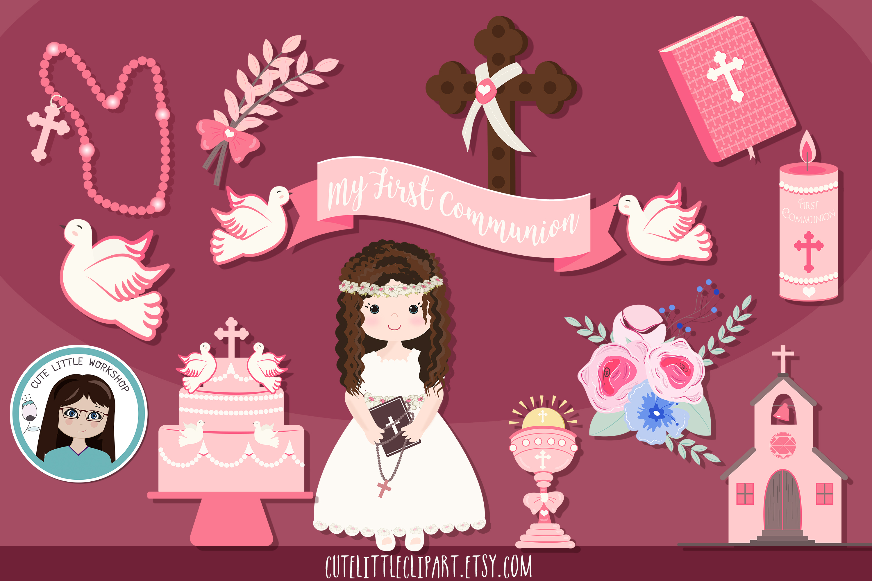 Download Free First Holy Communion Girl Clipart Bundle Graphic By for Cricut Explore, Silhouette and other cutting machines.