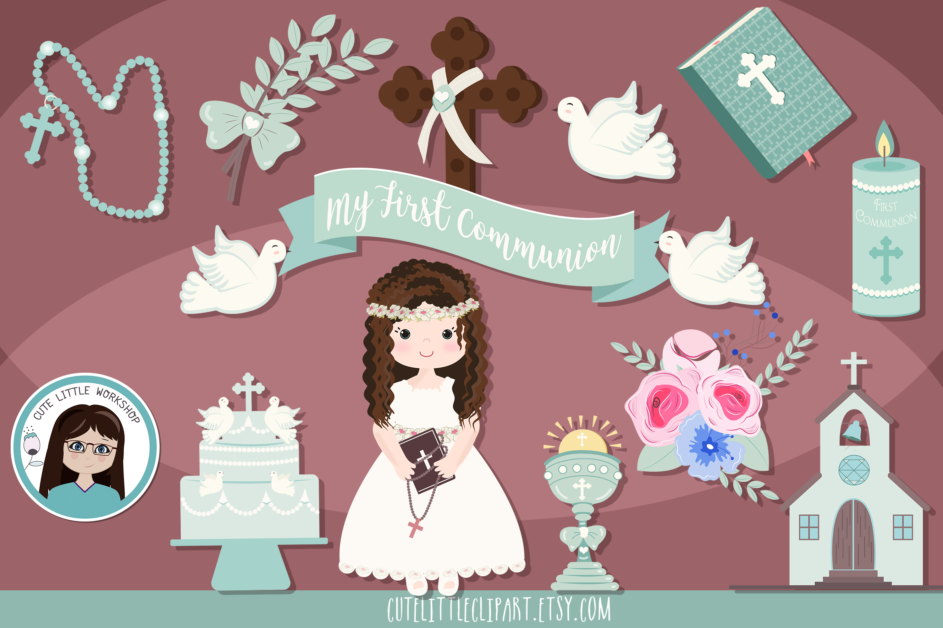 Download Free First Holy Communion Girl Cliparts Graphic By Cutelittleclipart for Cricut Explore, Silhouette and other cutting machines.