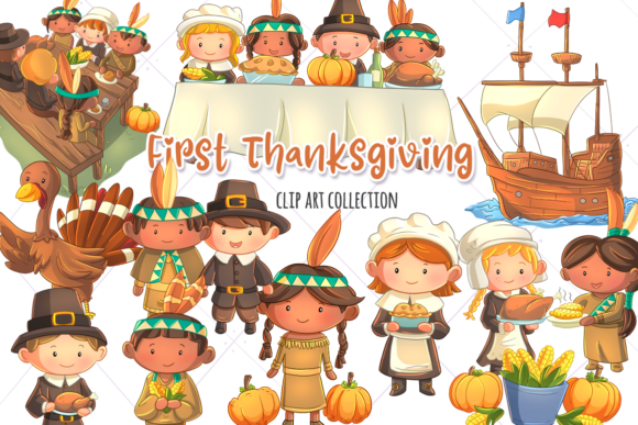 Print on Demand: First Thanksgiving Clip Art Collection Graphic Illustrations By Keepinitkawaiidesign