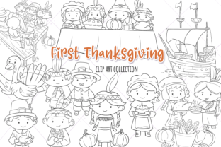 First Thanksgiving Digital Stamps Graphic By Keepinitkawaiidesign