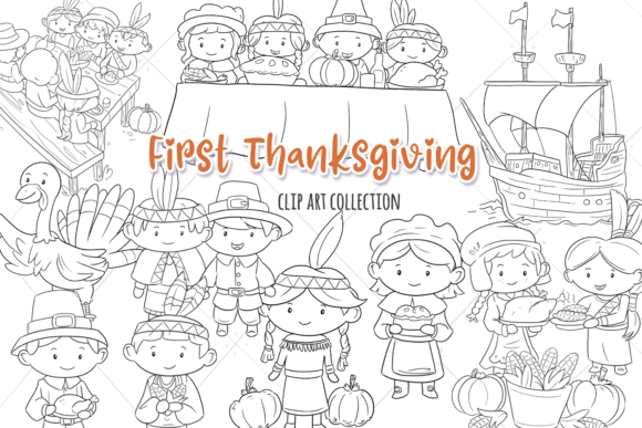 Print on Demand: First Thanksgiving Digital Stamps Graphic Illustrations By Keepinitkawaiidesign