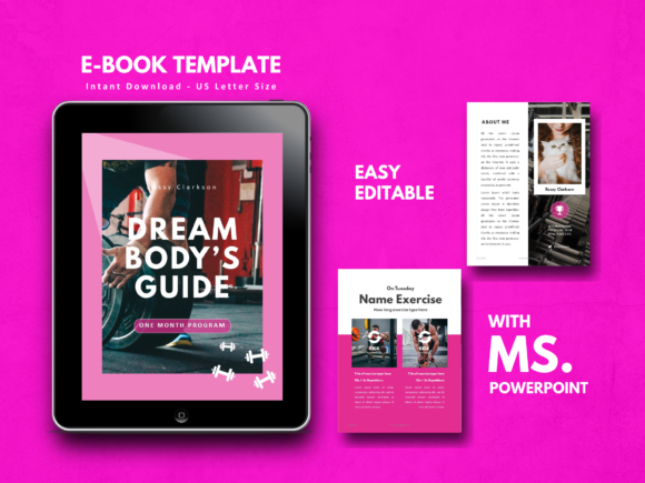 Fitness Girl EBook Template PowerPoint Graphic By rivatxfz