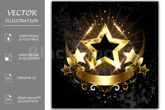 Five Stars with Golden Ribbon Graphic Illustrations By Blackmoon9