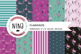 Download Free Flamingo Digital Paper Pack Graphic By Nina Prints Creative for Cricut Explore, Silhouette and other cutting machines.