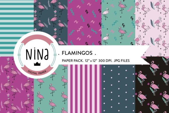 Flamingo Digital Paper Pack Graphic Patterns By Nina Prints